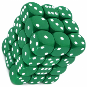 Green & White Opaque 12mm D6 Dice Block